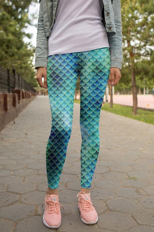 Brenda Blue Mermaid Leggings, Capris, Shorts