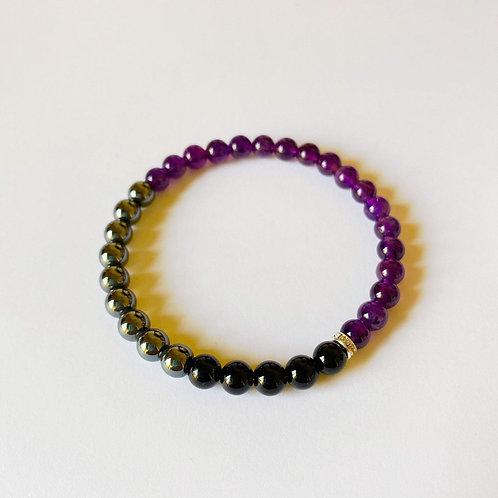 Amethyst, Black Onyx and Hematite Bracelet
