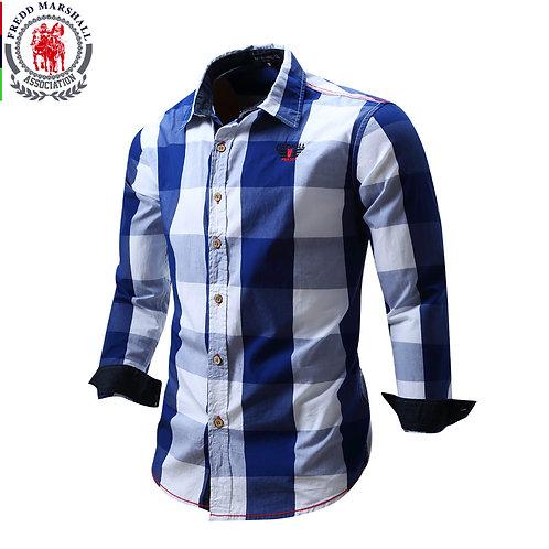 2020 New Men 100% Cotton Plaid Shirt Long Sleeve