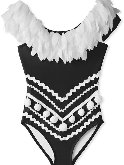 Black Draped Swimsuit with Petals & Pom Poms For Girls