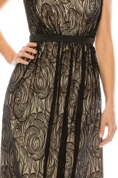 Adrianna Papell V-Neck Sleeveless Zipper Back Embellished Lace Dress