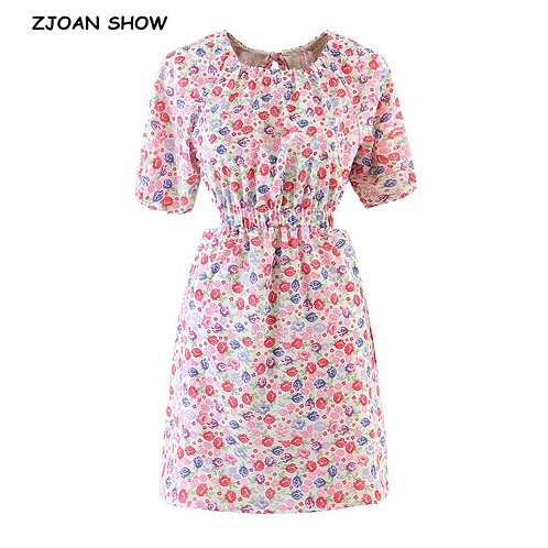 2021 Spring Women Floral  Short Sleeve Back Tie Bow Backless Dresses Fashion