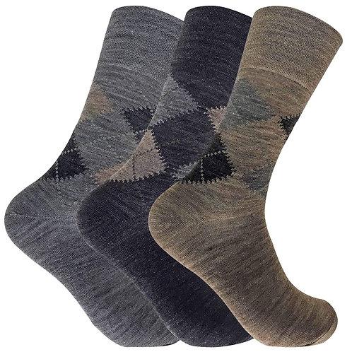 3 Pack Mens Lambs Wool Non Elastic Socks