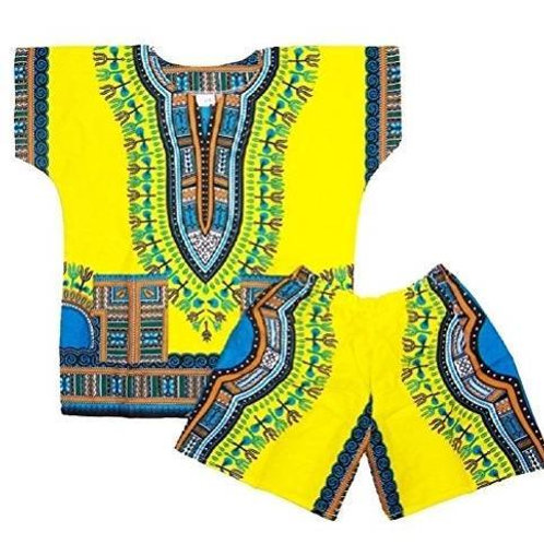 Dashiki Kids' Suit Shirt with Short - Yellow
