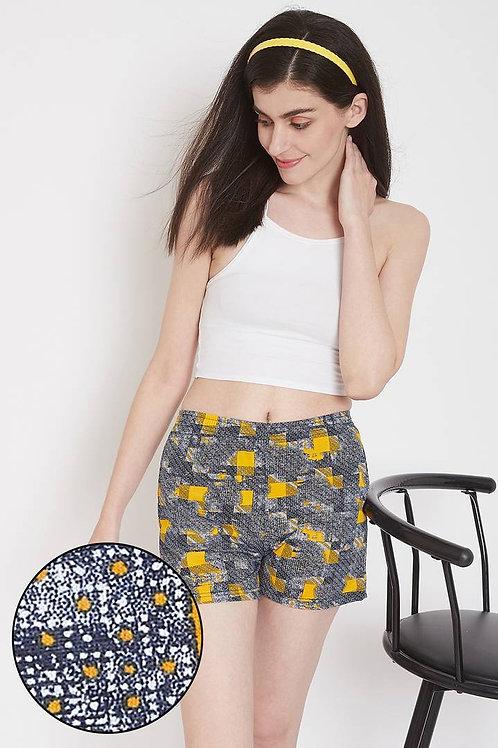 Women's Clovia Print Me Pretty Boxer Shorts in Yellow - Cotton Rich