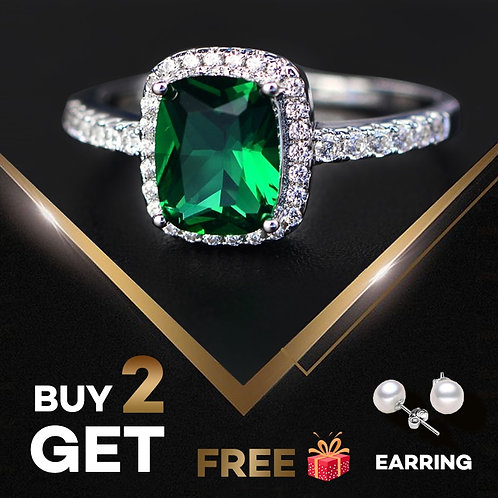 6 Colors Real Sterling Silver Emerald Gemstone Rings women