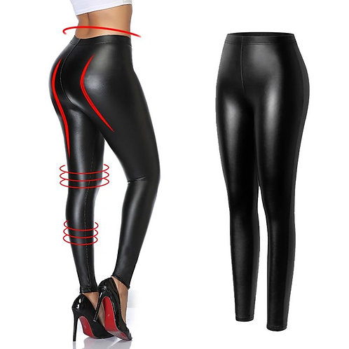 Black Leather Leggings High Waist Fashion Slimming Women Seamless Sexy