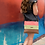 Thumbnail: Cross-Body Bag in Brown Leather with Coral and Green Stripe
