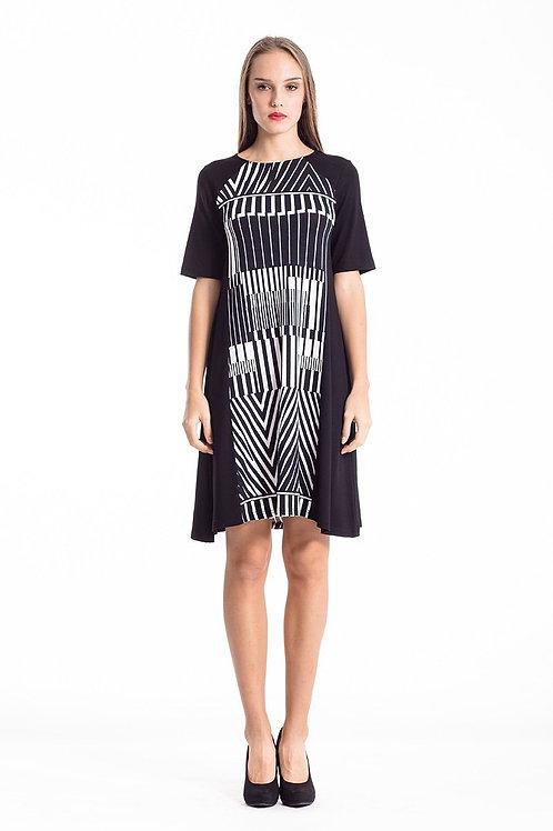 Animal Print A Line Black Dress