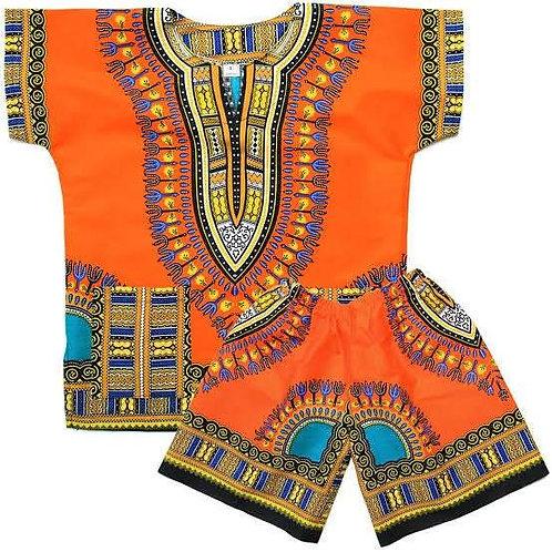 Children Dashiki Orange Shirt and Shorts, Children clothing  dashiki