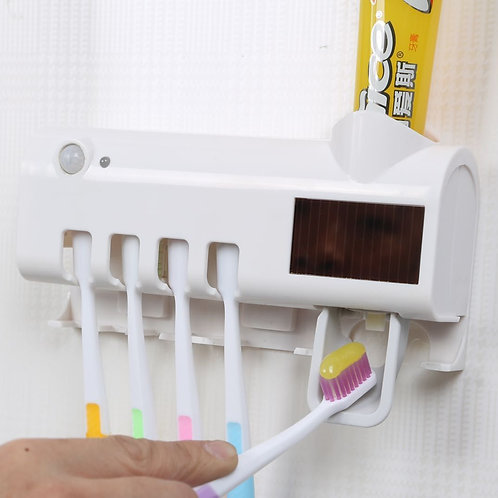 Automatic Toothpaste Dispenser Wall Mount Dust-proof Toothbrush Holder