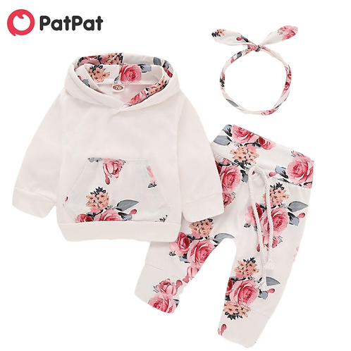 Beautiful Floral Long-Sleeve Hoodie Pants and Headband Set Baby Toddler