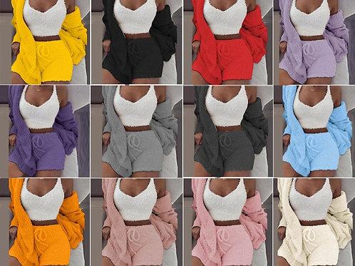 Adogirl Autumn Winter Women Plus Size S-3xl Plush 3 PCS or 2 PCS Suit