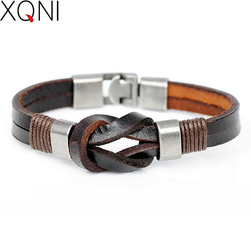 2020 Special Style Irregular Wrapping Leather Bracelet Black Brown