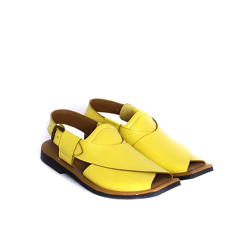 Aliso Yellow Color Shaded Mens Leather Fisherman Tire Sole Sandal