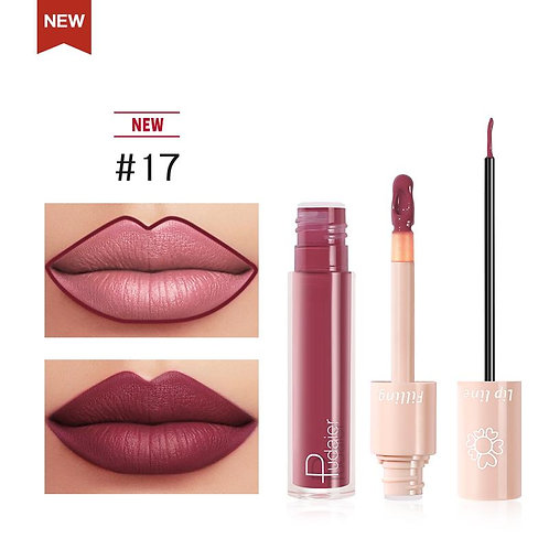 2020 New Pudaier Duo Lip Liner & Matte Liquid Lipstick - Color #17