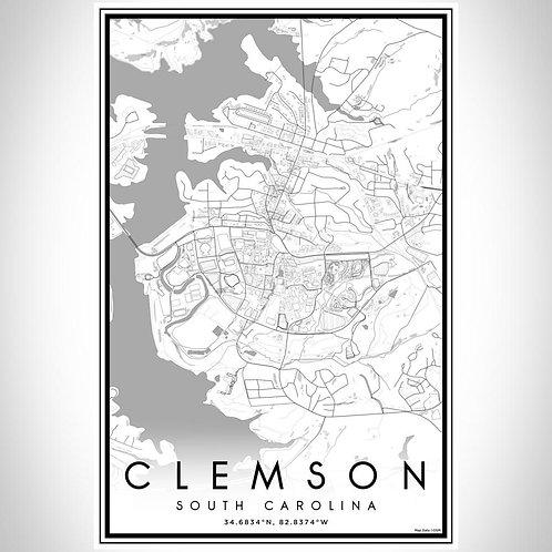 Clemson - South Carolina Classic Map Print