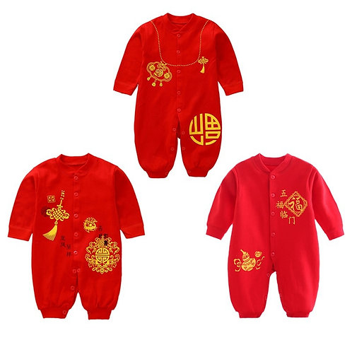 Chinese Traditional Newborn Baby Grils Clothes Cotton Rompers