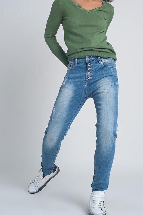 Button Front Boyfriend Jeans in Blue