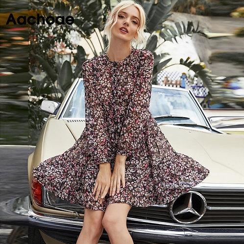 Boho Style Floral Print Pleated  Long Sleeve  Mini Dress O Neck