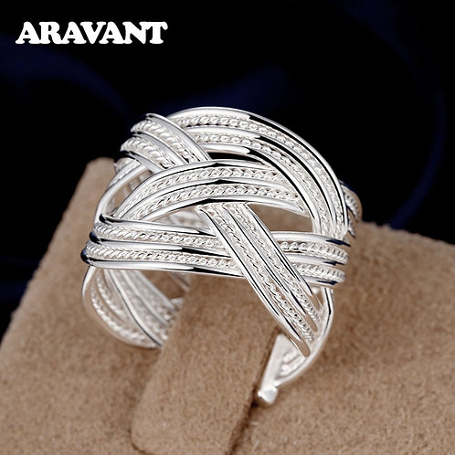 2020 New 925 Silver Weave Open Adjustable Ring for Women Fashion Jewelry