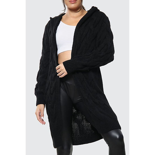 Cable Knit Hooded Cardigan | Knee Length - Black