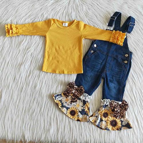 Clothing Fashionable Kids Fall Yellow Top Bell Bottom Pants
