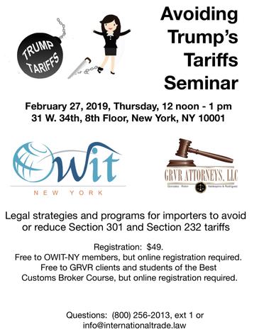 Avoiding Trump's Tariffs Seminar