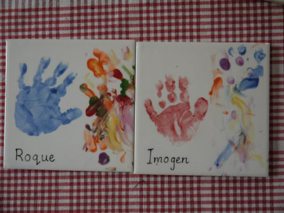 Siblings hand prints