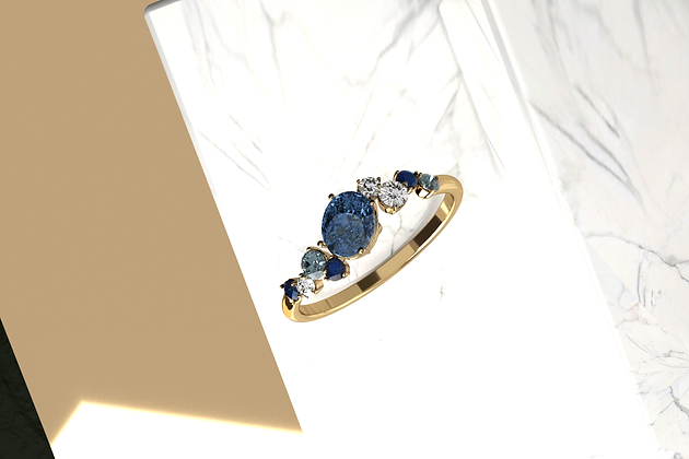 Delphin Blue Blossom Cluster Ring