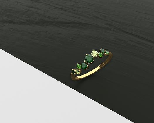 Delphin Slim Green Ring