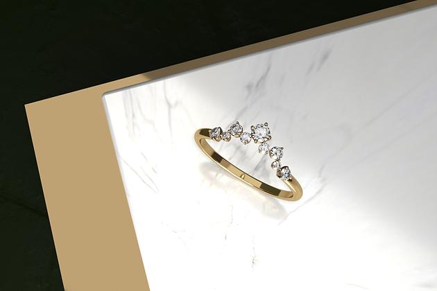 Delphin Diamond Arched Ring