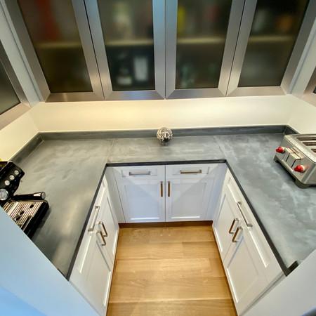 charcoal gray concrete kitchen pantry countertops