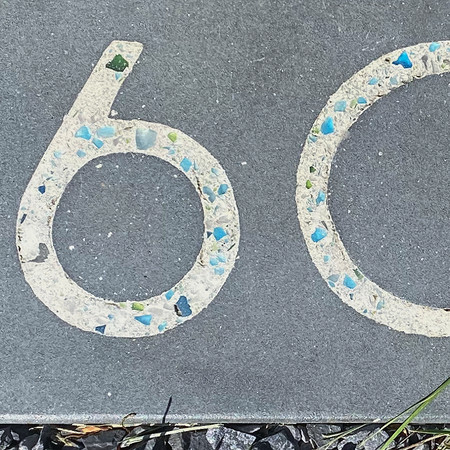 wavy paver with house number glass inlay