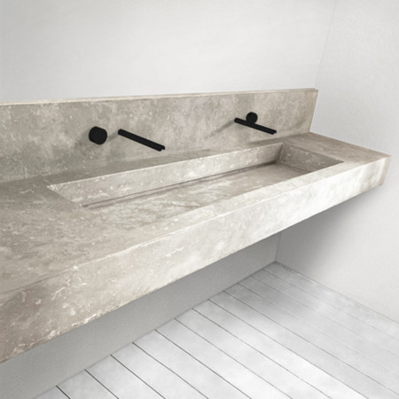 floating vanity with integrated trough sink