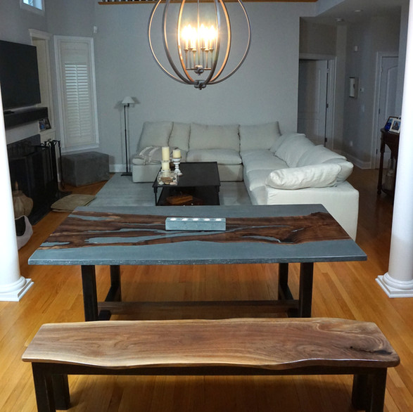 black walnut and concrete dining table