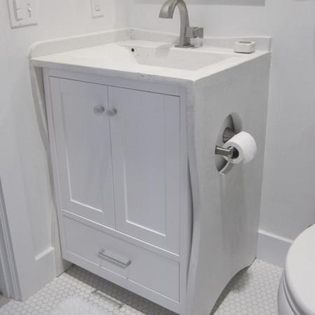 wave bathroom vanity in white concrete