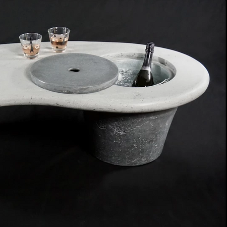cool-cooler concrete and aluminum coffee table