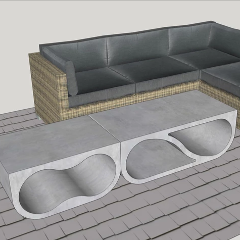 initial design for yin-finity outdoor coffee and side tables