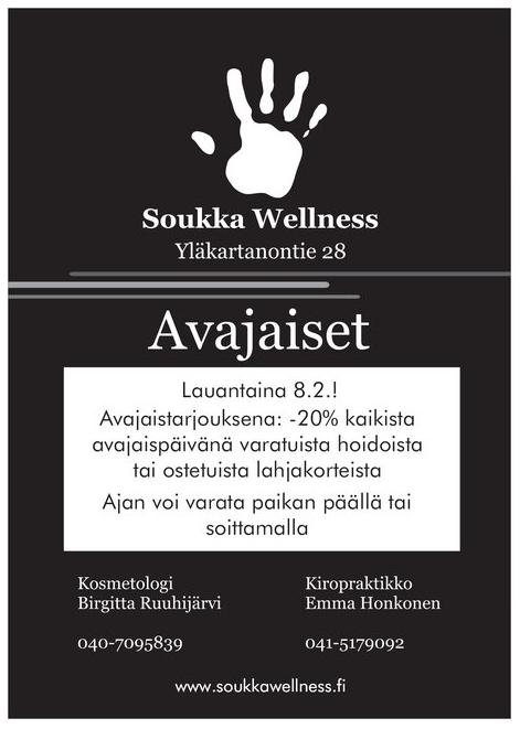 Soukka Wellnessissä avajaiset lauantaina 8.2.2020 klo 11-14