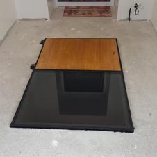 Trappe manuelle bois et fixe verre