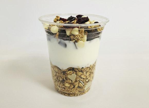 Granola, Yogurt with Chocolate and Dried Fruit