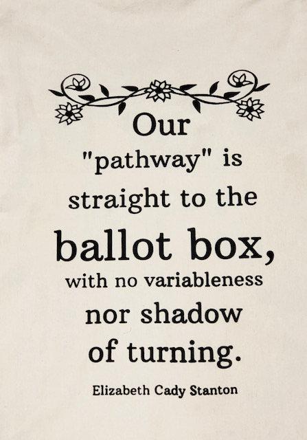 "Tea Towel: ""To the Ballot Box"", Elizabeth Cady Stanton"