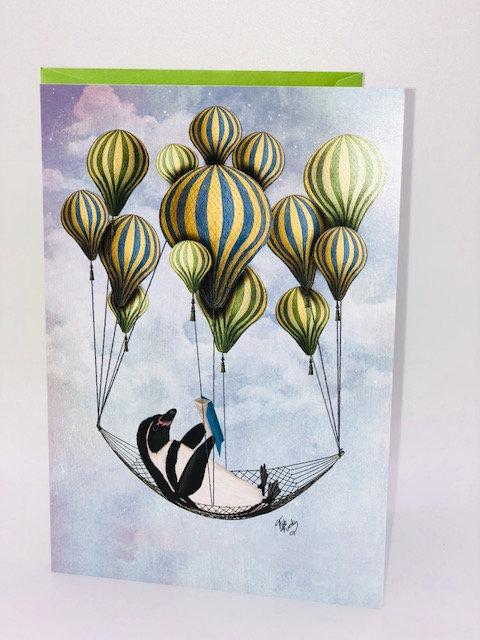Uplifting Penguin Reading (Birthday Card)