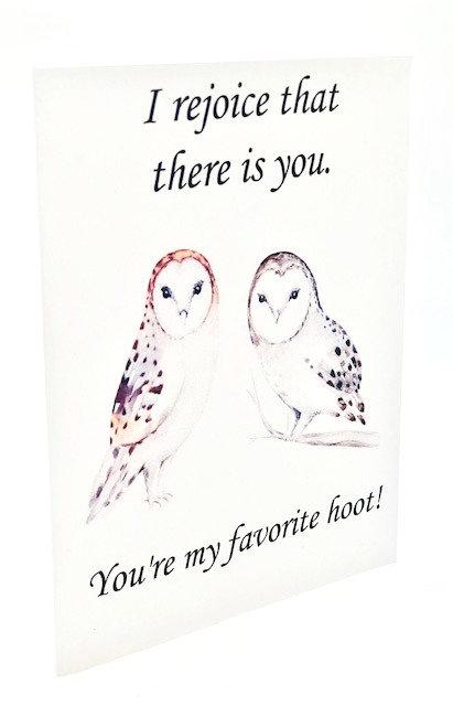 "Notecard: ""You're My Favorite Hoot"" (Henry David Thoreau)"