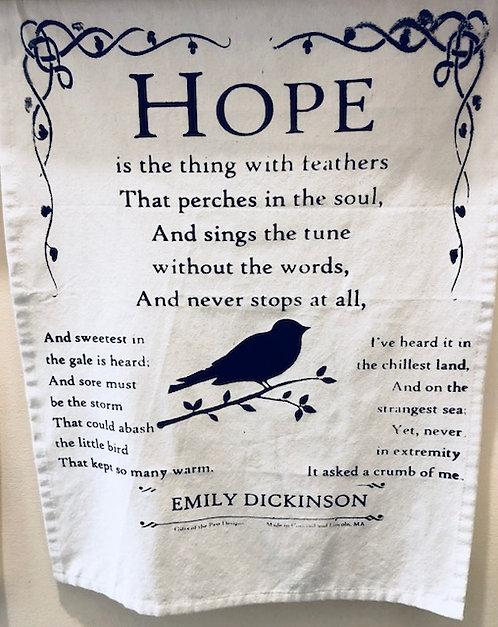 "Tea Towel: ""Hope"" by Emily Dickinson"