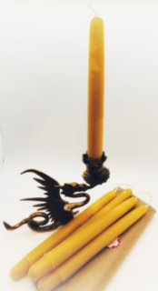Set of 4 Hand-dipped Beeswax Tapers
