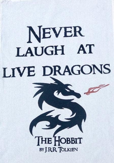 "Tea Towel: ""Dragons"" from THE HOBBIT"