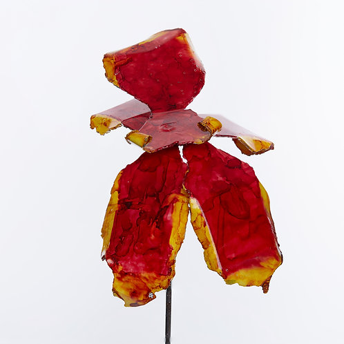 Front View Recycled Steel Red Yellow Orchid