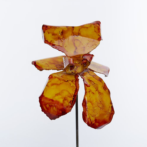 Front View Recycled Steel Gold Red Orchid